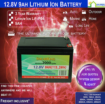 AU87 • Buy 12V 9ah Lithium Ion LiFePo4 Deep Cycle Rechargeable Battery - FREE FREIGHT!!
