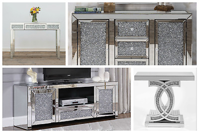 £199.95 • Buy Mirrored TV Media Unit Stand Table Cabinet Vintage Silver Grey Retro 90cm New