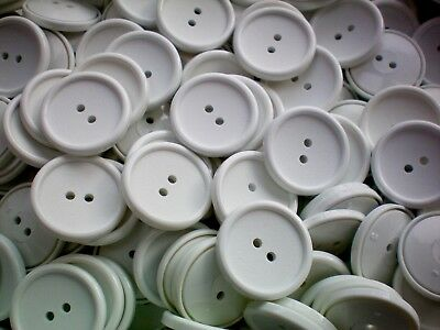 Large 25mm 40L White 2 Hole Buttons Craft Jacket Scrap Book 10 20 50 (J190) • 3.49£