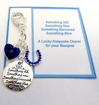 Something Blue Traditional Lucky Bridal Gift Charm Horseshoe & Heart For Bouquet • 5.71£
