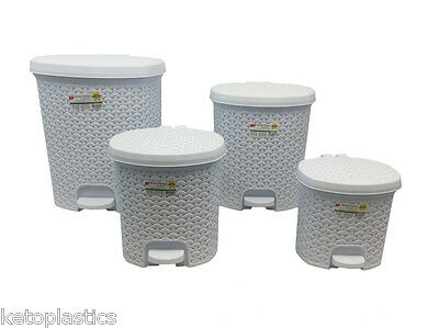 £9.99 • Buy Rattan Effect Pedal Bin - Available In 4 Sizes 2 Colours Kitchen, Bathroom Study