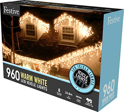 Festive Productions Snowing Icicle Lights With Timer 960 LED Bulbs, Warm White • 99.62£