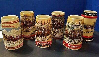 $ CDN170.19 • Buy Vintage Set Of 6 BUDWEISER Holiday Clydesdale Steins 1985, 86, 87, 88, 89 & 90