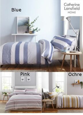 £14.99 • Buy Catherine Lansfield Newquay Stripe Duvet Cover Bedding Bed Set Quilt New