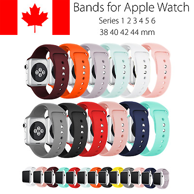 $ CDN6.99 • Buy Replacement Silicone Band Straps For Apple Watch 38 40 42 44 Mm Series 1 2 3 4 5