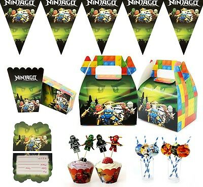 NINJAGO Party Supply Table Cover Flag Straw Candy Box Balloon Card Plate Decor • 2.99£