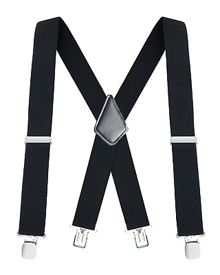 $13.97 • Buy Buyless Fashion Mens Suspenders 48  Elastic Adjustable Heavy Duty 2  Wide X Back