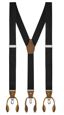 $10.97 • Buy Buyless Fashion Suspenders Y-Back Adjustable Strong Clips & Leather Button End