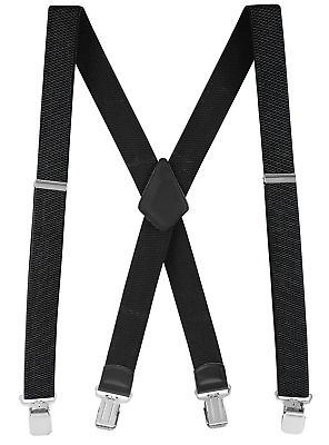 $11.98 • Buy Buyless Fashion Men Suspenders 48  Adjustable Straps 1 1/4  Metal Clips X Back