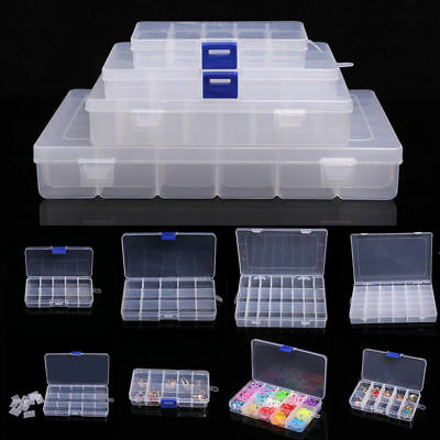 Home Plastic Clear Jewelry Bead Organizer Box Storage Container Case Craft UK • 4.49£