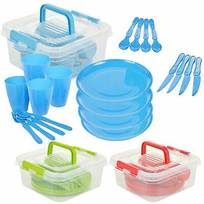 £6.49 • Buy 21 Piece Plastic Picnic Camping Party Dinner Plate Mug Cutlery Set Storage Box