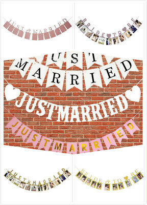 JUST MARRIED Wedding Banner Decoration For Reception, Bridal Shower Photo Prop  • 4.55£