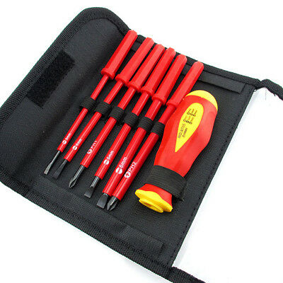 Electricians Screwdriver Set Tool Electrical Fully Insulated 7Pcs With Kit Case • 8.40£