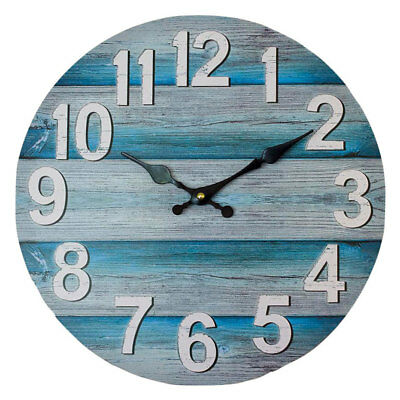 AU29.95 • Buy Round 34cm Teal And Grey Boards Wall Clock