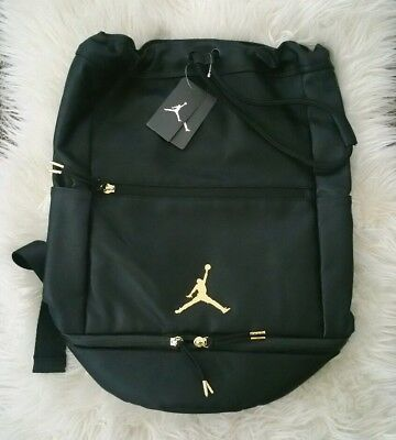 size 40 448ed 81fa1 NWT Nike Air Jordan Skyline City Portage Bag Black Metallic Gold (9A0023-023