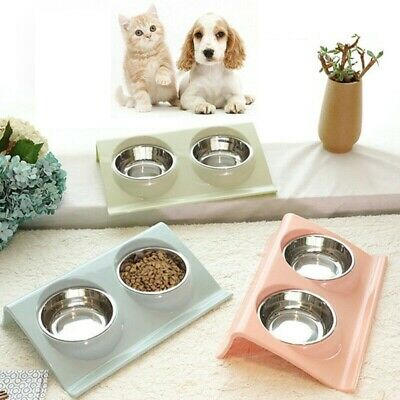 Stainless Double Food Water Pet Feeding Bowl Puppy Cat Dog Kitten NON Slip Dish • 7.89£