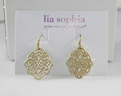 $ CDN18.92 • Buy Lia Sophia  Diary  Gold Tone Filagree Earrings~NWT