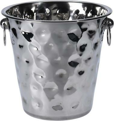 Stainless Steel Champagne Wine Beer Ice Bucket Bottle Cooler Hammered Effect • 6.99£