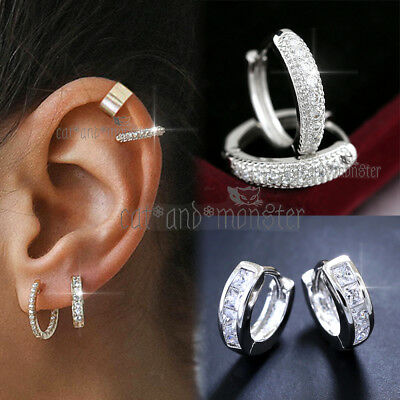 AU11.72 • Buy 9k Gold Gf Lady Men Girl Ear Cartilage Helix Small Diamond Hoop Sleeper Earrings