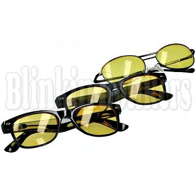 £4.19 • Buy Tinted Unisex Yellow Dark Night Time Vision Anti Glare Driving Glasses & Pouch