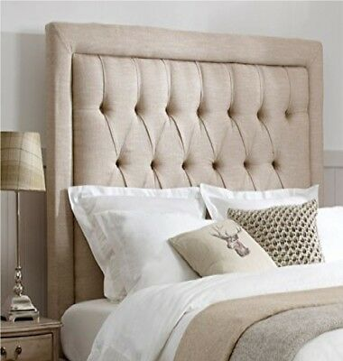 HEADBOARD BUTTONS SPECIAL BEDWORTH LINEN FABRIC FREE SHIPPING ALL SIZE 26  Tall • 69.99£