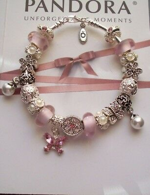 Authentic Pandora Sterling Silver Bracelet Pink,white Pearl's, Crystals • 78.68£