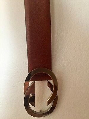 79a05bb4871 Vintage Gucci Women s Cognac Leather Belt Gold And Silver Buckle Size S •  300.00