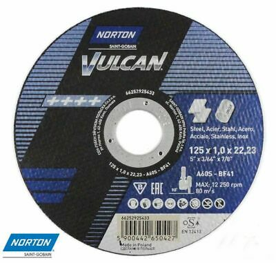 AU46.72 • Buy 125mm 5 Inch Norton Vulcan Cutting Grinding Discs Stainless Steel Metal 125x1,0