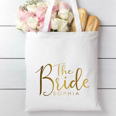 £7.99 • Buy Wedding Hen Party Tote Bag | Personalised | White And Gold