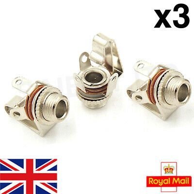 3x 3.5mm Female Sockets Chassis Panel Mount Jack - Mono - High Quality (3pcs) • 4.39£
