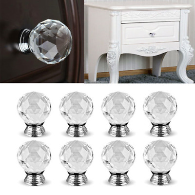 16pcs Crystal Diamond Door Knobs Cupboard Wardrob Clear Cabinet Draw Pull Handle • 7.29£
