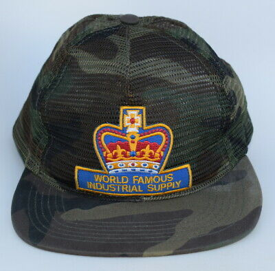 SUPREME CROWN WORLD FAMOUS INDUSTRIAL SUPPLY Mesh Camo Baseball Cap Hat One  Size • 42.46  ee063216432b