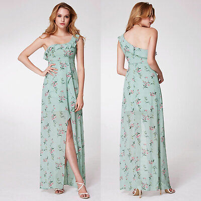 Womens One Shoulder Floral Print High Low A-Line Party Dress Bridesmaid UK 10-20 • 9.99£