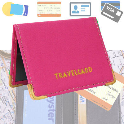 £2.99 • Buy REAL LEATHER Travel Card Holder Wallet Bus Pass Ticket Soft Slim Case UK