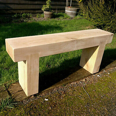 £274.99 • Buy Solid Oak Beam Garden Bench - Created From Chunky Air Dried Oak Beams SEAT