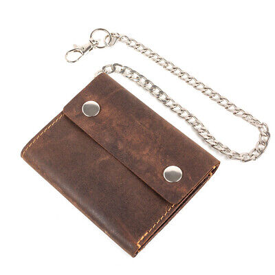 Mens Leather Biker Wallet Trifold Motorcycle Safetychain Genuine Brown Chain New • 12.99£