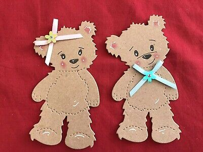 4 X Made Jessie Bear Die Cut Card Toppers For Baby , Christening , Birthday • 1.80£