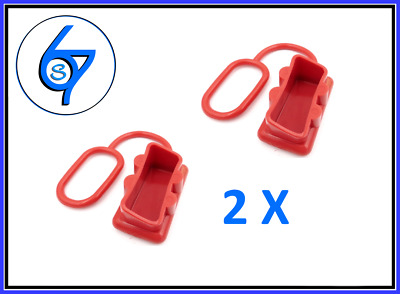 AU6.10 • Buy 2 X Dust Cap RED Anderson Plug Cover Style Connectors 50AMP Battery Caravn