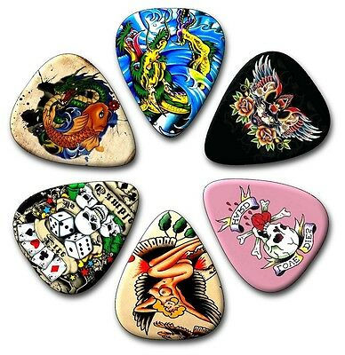 $ CDN4.90 • Buy 6 Tattoo Guitar Picks ~ Plectrums ~ Plectra ~ Printed Both Sides