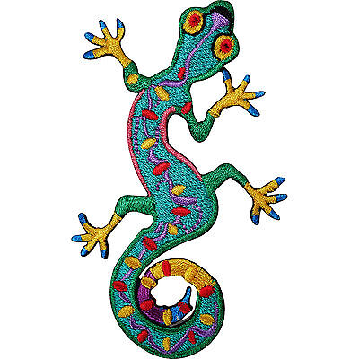 Green Gecko Lizard Embroidered Iron / Sew On Patch Clothes Top Dress Skirt Badge • 2.79£
