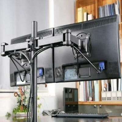 £17.59 • Buy 13 -29  Dual LED Monitor Stand 2 Arm Holds Two LCD Screen TV Desk Mount Bracket