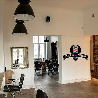 Barber Shop Window Stickers Front Salon Sign Wall Decal Modern Hairdresser Style • 19.89£