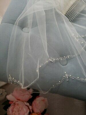 £70.20 • Buy Bridal Veil Off White 2 Tier Elbow Length Scallop Edge Pearl Beads Crystals NWOT