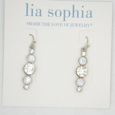 $ CDN10.09 • Buy Lia Sophia Cute Lovely Cut Crystals Stick Hoop Drop Dangle Earrings Silver Tone
