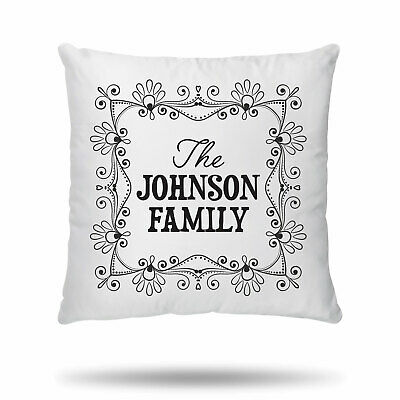 Personalised Cushion Cover Family Name New Home Anniversary Wedding Birthday  • 6.99£