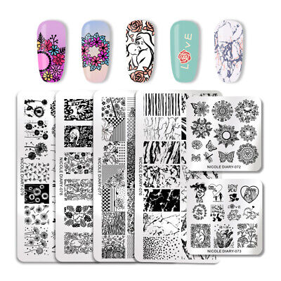 $0.99 • Buy NICOLE DIARY Nail Art Stamping Plates Image Stamp Template Flower Leave Pattern