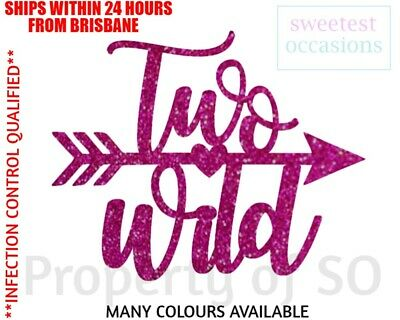 AU9.99 • Buy TWO WILD With Arrow Second Birthday Cake Topper
