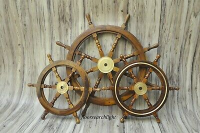 £195 • Buy Wooden Ship Wheel Steering 36  & 24  Pirate Wood Brass SET OF 3 Wall Boat Decor