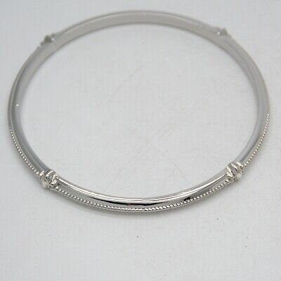 $ CDN8.85 • Buy Size L Lia Sophia Signed Jewelry Silver Tone Rhinestone Bangle Textured Bracelet