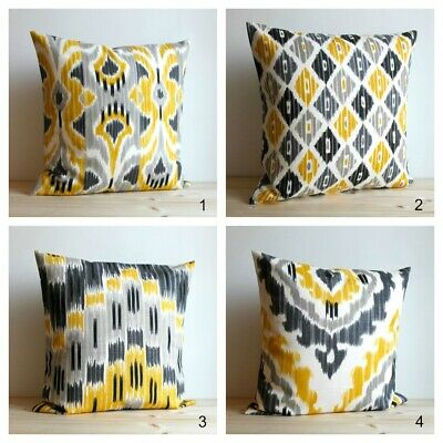Yellow And Grey Ikat Cushion Cover, Made In UK, 100% Cotton • 5.95£